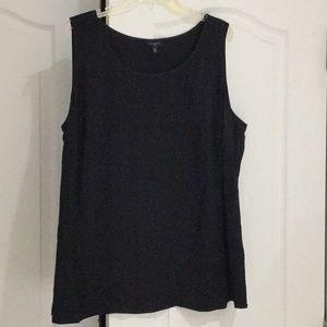 Talbots 20w simple black 💯silk tunic shell worn 1